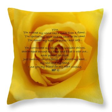 You Poem On Yellow Rose Throw Pillow