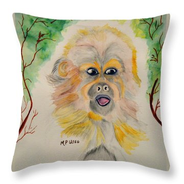 You Silly Monkey Throw Pillow by Maria Urso