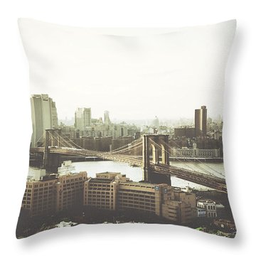 You'll Miss Her Most When You Roam ... Cause You'll Think Of Her And Think Of Home ... The Good Old Brooklyn Bridge Throw Pillow