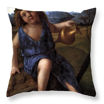 Throw Pillow featuring the painting Young Bacchus Dionysus Giovanni Bellini 1514 by Karon Melillo DeVega