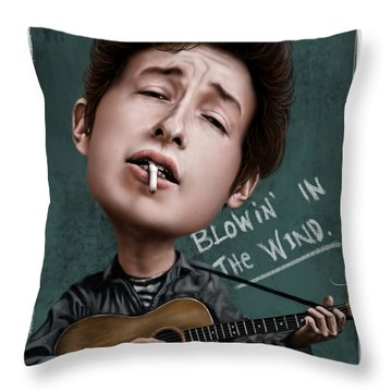 Young Bob Dylan Throw Pillow by Andre Koekemoer