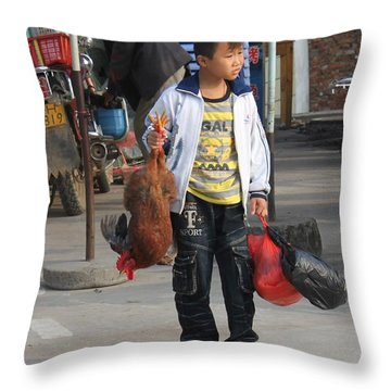 Young Boy Carrying A Dead Chicken To School Throw Pillow