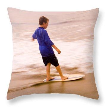 Young Boy Skimboarding, Santa Barbara Throw Pillow