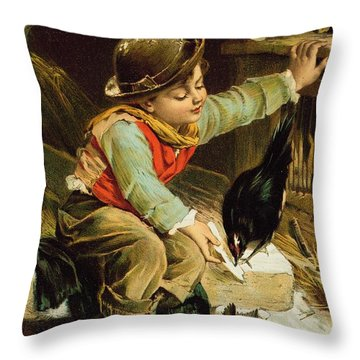 Young Boy With Birds In The Snow Throw Pillow by English School