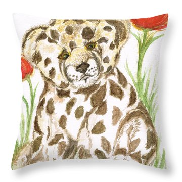 Young Cub Leopard Throw Pillow