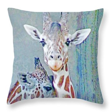 Young Giraffes Throw Pillow
