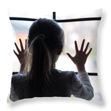 Young Girl At Window Throw Pillow