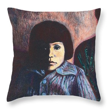 Young Girl In Blue Sweater Throw Pillow by Kendall Kessler
