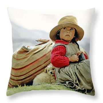 Young Girl In Peru Throw Pillow