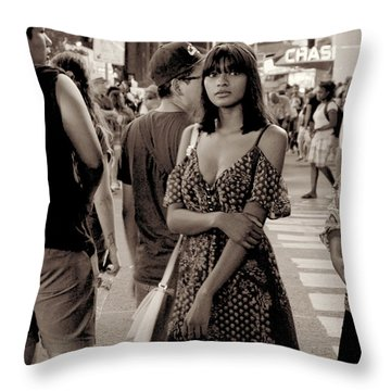 Girl With Red Dress - Times Square Throw Pillow by Miriam Danar