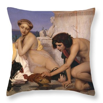 Young Greeks Attending A Cock Fight Throw Pillow by Jean Leon Gerome