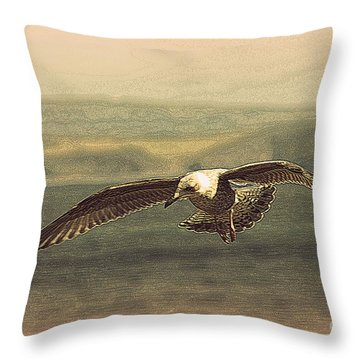 Young Gull Throw Pillow by Linsey Williams