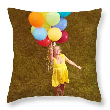 Young Happy Woman Flying On Colorful Helium Balloons Throw Pillow by Oleksiy Maksymenko