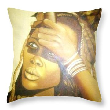 Young Himba Girl - Original Artwork Throw Pillow