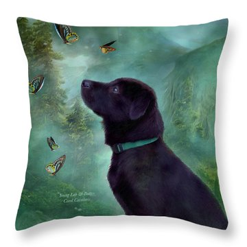 Young Lab And Buttys Throw Pillow by Carol Cavalaris