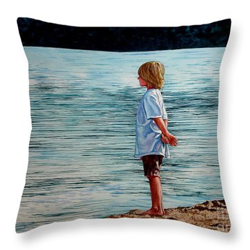 Young Lad By The Shore Throw Pillow