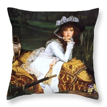 Young Lady In A Boat Throw Pillow