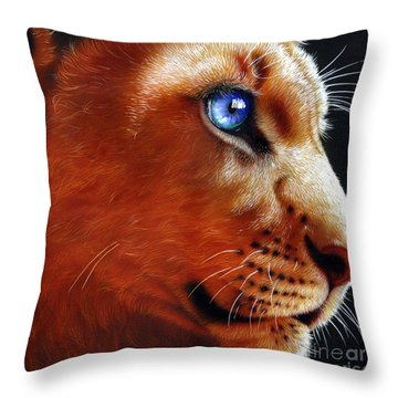 Young Lion Throw Pillow by Jurek Zamoyski