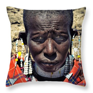 Portrait Of Young Maasai Woman At Ngorongoro Conservation Tanzania Throw Pillow by Amyn Nasser