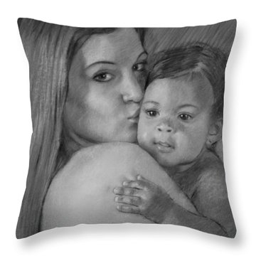 Throw Pillow featuring the drawing Young Mother With Her Baby by Viola El