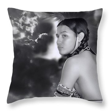 Young Native American Bw  Throw Pillow