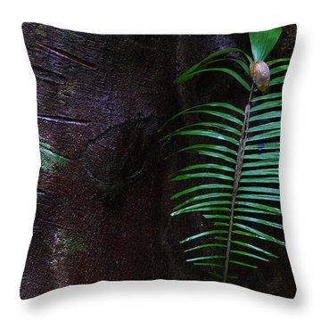 Palm Leaf Against Tree Throw Pillow