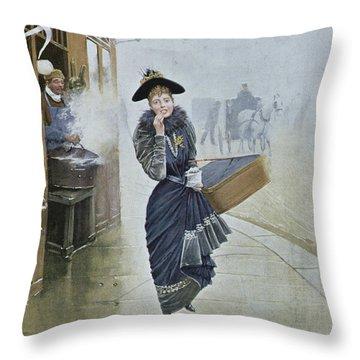 Young Parisian Hatmaker Throw Pillow by Jean Beraud