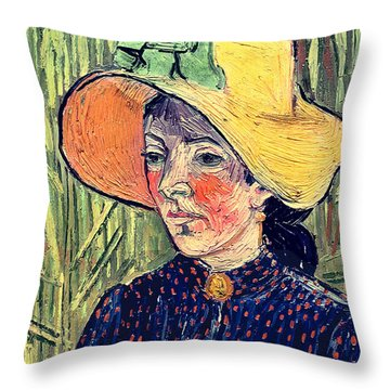 Young Peasant Girl In A Straw Hat Sitting In Front Of A Wheatfield Throw Pillow