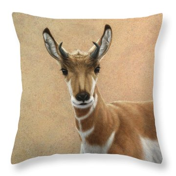 Young Pronghorn Throw Pillow by James W Johnson