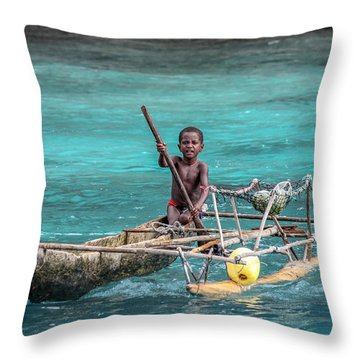 Young Seaman Throw Pillow by Jola Martysz