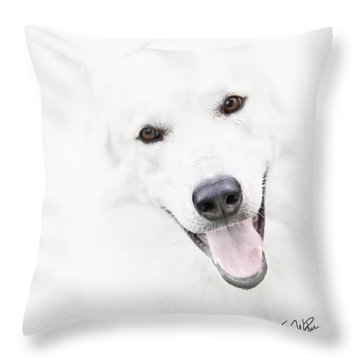 Throw Pillow featuring the digital art Young Wolf by Erika Weber