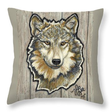 Throw Pillow featuring the painting Young Wolf by VLee Watson