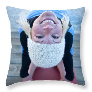 Young Woman Doing Yoga On Pier In Tahoe Throw Pillow