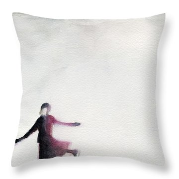 Young Woman Ice Skating Watercolor Painting Throw Pillow