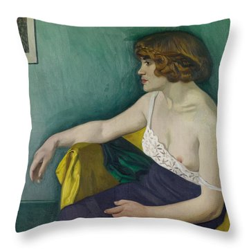 Young Woman Seated In Profile Throw Pillow by Felix Edouard Vallotton