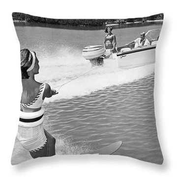 Young Woman Slalom Water Skis Throw Pillow