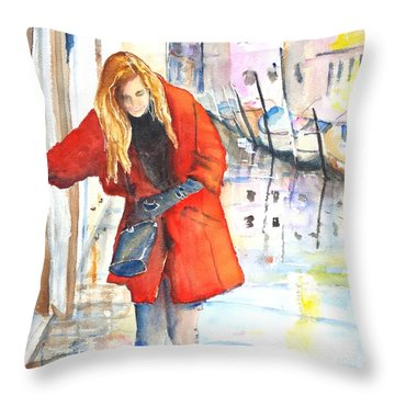 Young Woman Walking Along Venice Italy Canal Throw Pillow