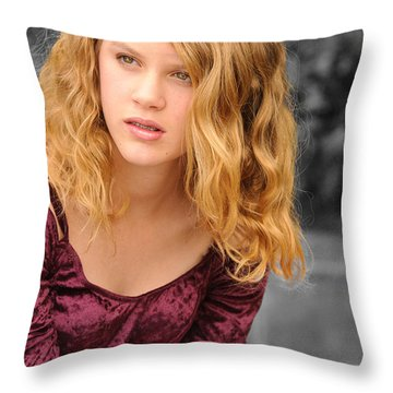 Young Woman's Portrait 2 Throw Pillow by Michael  Nau