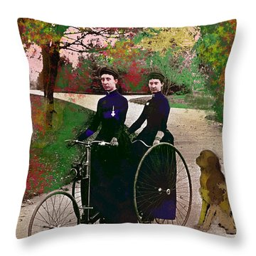 Throw Pillow featuring the mixed media Young Women Biking by Charles Shoup