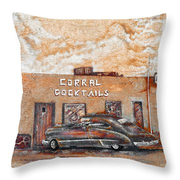 Young's Corral - Holbrook Az - Route 66 - The Mother Road Throw Pillow by Christine Till