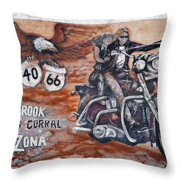 Young's Corral In Holbrook Az On Route 66 - The Mother Road Throw Pillow by Christine Till