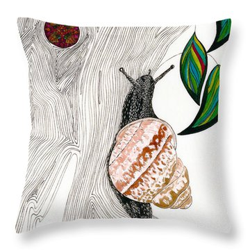 Throw Pillow featuring the drawing Your Garden Snail by Dianne Levy