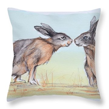 Throw Pillow featuring the painting Your Place Or Mine by Cynthia House