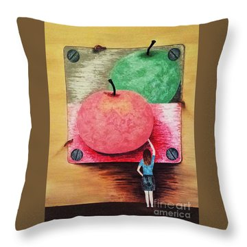 Throw Pillow featuring the painting Youth And Maturity by Jasna Gopic