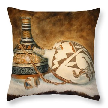 You Tube Video-indian Pots Throw Pillow
