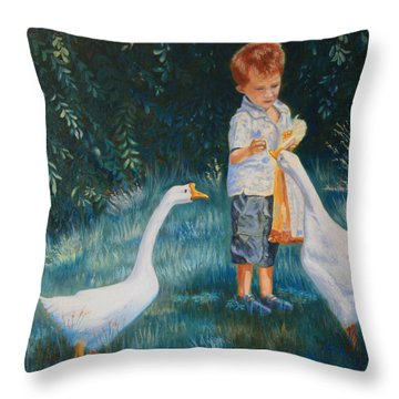 Youtube Video - Planned Painting - Childhood Memories Throw Pillow by Roena King