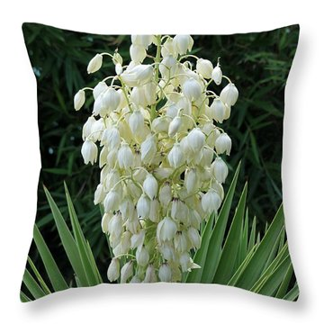 Yucca Blossoms Throw Pillow by Christiane Schulze Art And Photography