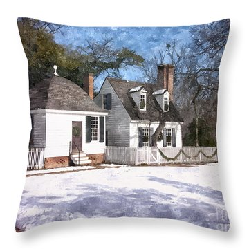 Yule Cottage Throw Pillow by Shari Nees