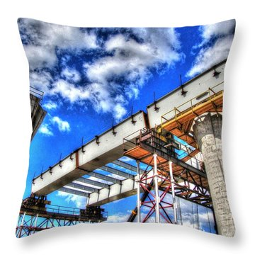 Throw Pillow featuring the pyrography Yury Bashkin Construction In St. Petersburg Ica by Yury Bashkin