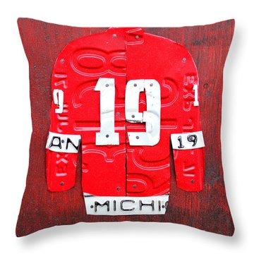 Yzerman The Captain Red Wings Hockey Jersey License Plate Art Throw Pillow by Design Turnpike